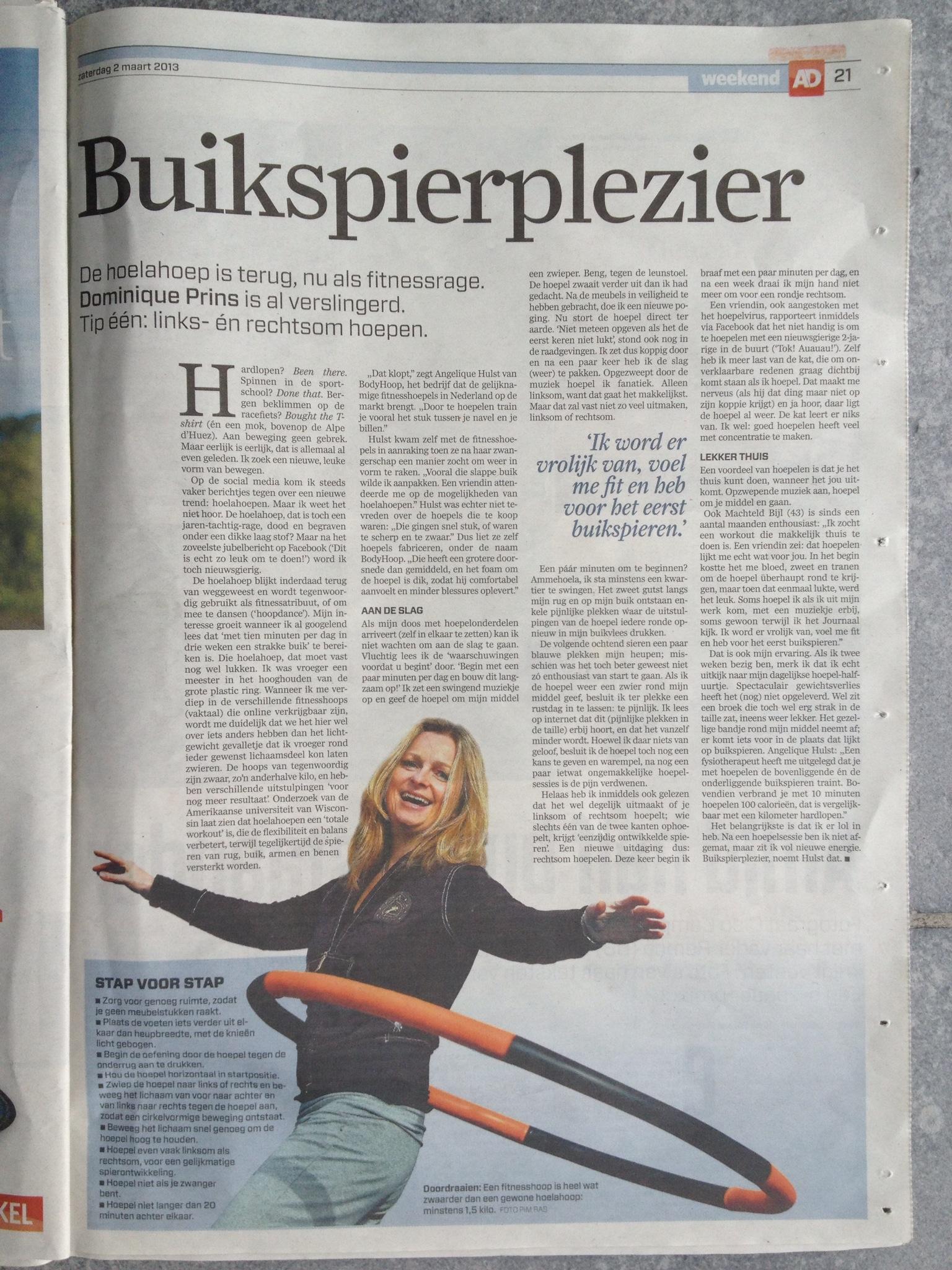 artikel over Bodyhoop in het ad